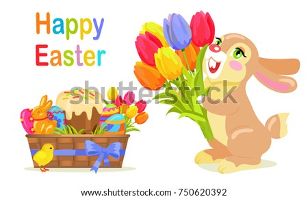 fc4a4bf5f31ef Happy Easter postcard design in flat style. Milk chocolate bunny with  bouquet of fresh tulips