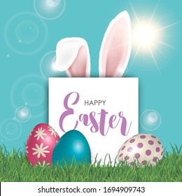 happy Easter. Easter poster and banner template with Easter eggs. Congratulations and gifts on the day of the Passover in a reclining style. Promotion and shopping template for Easter 3D image
