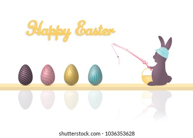Happy Easter. Rabbit with hut and basket is fishing Easter eggs. Text : Happy Easter