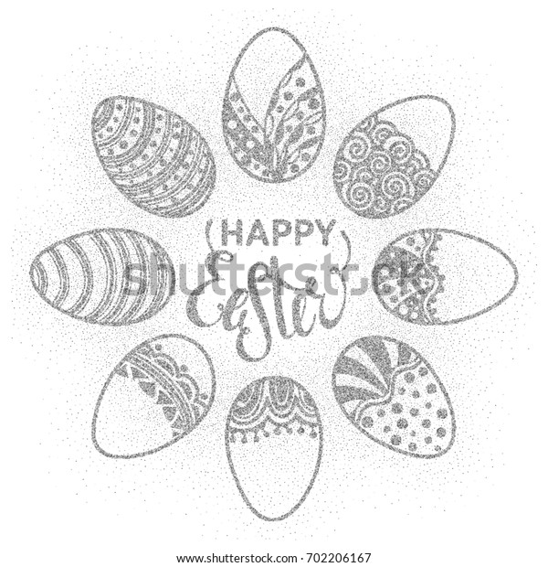 Happy Easter round frame of silver confetti handdrawn zentangle eggs on white background. Doodle holiday design element for greeting card, banner, poster, invitation, postcard.