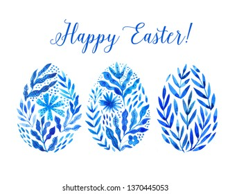 Happy Easter. Set of Easter eggs with watercolor f;owers on a white background. Spring holiday. Happy easter eggs -