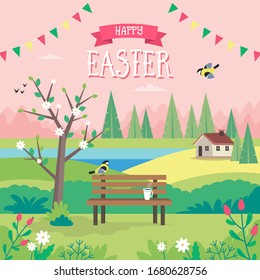 Happy Easter, spring landscape with bench, houses, fields and nature. Greeting card design. Cute illustration in flat style