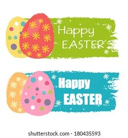 Happy Easter text and easter eggs with spring daisy flowers on drawn banners, holiday seasonal concept, flat design