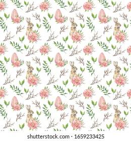 ハッピーイースター。水彩の花はシームレスな模様。水彩絵柄。ビンテージ水の色の背景。壁紙、布地のデザイン、包装紙、デジタル紙に最適。