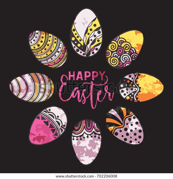 Happy Easter watercolor round frame of handdrawn zentangle eggs on black background. Doodle holiday design element for greeting cards, banners, posters, invitations, postcards.