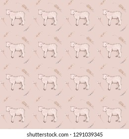 Happy Easter watercolor seamless pattern with lambs. A watercolor spring illustration of the cute easter lamb.