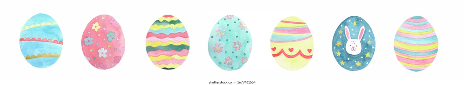 Happy Easter. Watercolor set of hand drawn colored Easter eggs isolated on white background. For greetings card design, wallpaper, invitation, menu