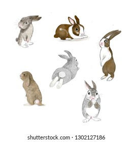 Happy Easter.Cute bunny.Hand drawn watercolor sketch .Set rabbits isolated on white background.