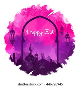 happy Eid, Eid Mubarak beautiful greeting card With Pink and Purple digital art background