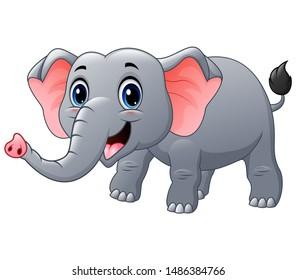 Happy elephant cartoon on a white background