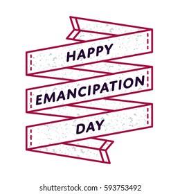 Happy Emancipation day emblem isolated illustration on white background. 19 june USA feminine holiday event label, greeting card decoration graphic element