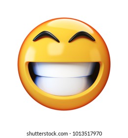 Happy emoji isolated on white background, smiling face emoticon 3d rendering