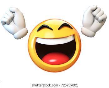 Happy emoji isolated on white background, emoticon with raised hands 3d rendering