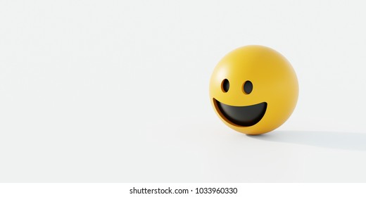 Happy emoticon 3d rendering background, social media and communications concept