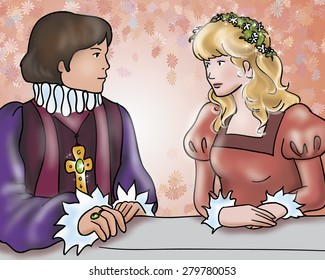 Happy ending: the prince is marrying a princess. Digital illustration for Grimm's fairy tale Rumpelstiltskin.