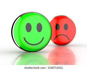 Happy face and sad face. Green and red smiley faces 3D rendered with depth of field