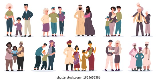 Happy families. Large families together, mom, dad and children, smiling mother, father and kids  illustrations. Cartoon multiracial families