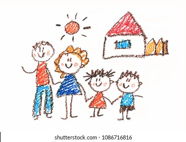Happy family with daughter and son. House, home. Father, mother, child. Kids drawing style. Kindergarten children. Preschool education. Crayon drawing