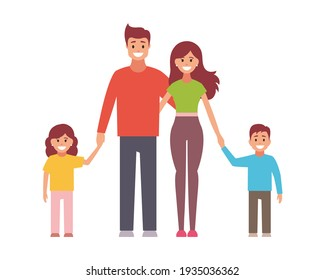 Happy family.  flat design illustration on white background.