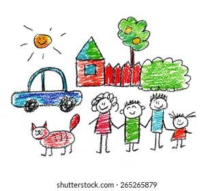Happy family. Kids drawings
