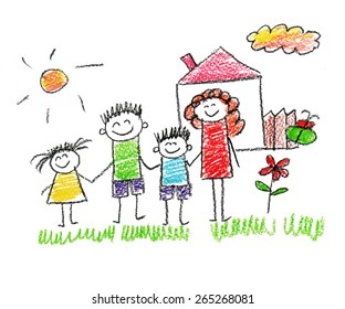 Happy Family Drawing Images Stock Photos Vectors Shutterstock