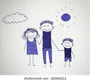 happy people kids drawing stock illustration 265345208 shutterstock