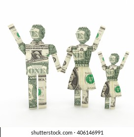 Happy family made from American One dollar bill 3D rendering