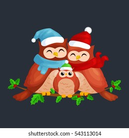 happy family of owls mom dad and baby in a warm hat scarf sitting on branch enjoys the eve Christmas New Year by candlelight illustration