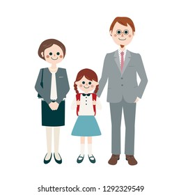 happy family portrait on the day of elementary school's  entrance ceremony