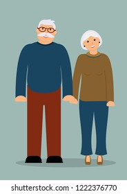 Happy family seniors: smiling elderly man and woman in full growth on the blue background. Raster illustration