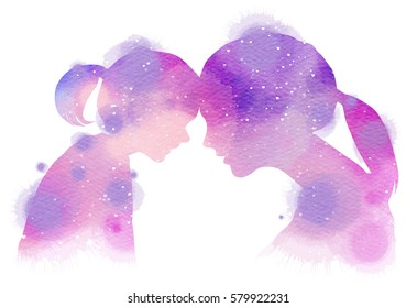 Happy family silhouette on watercolor background. Mother and daughter. Mother's day. Digital art painting.