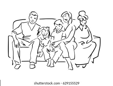 Happy family is sitting on the sofa in home atmosphere. Father, mother, children and grandmother are smiling. Black and white sketch. Simple drawing at white background.