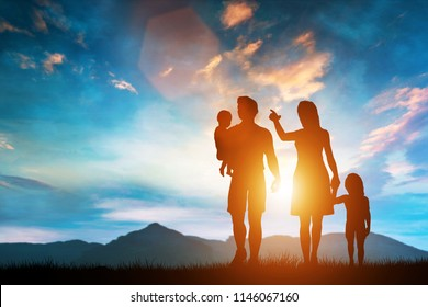 Happy family standing on a hill with children, mother pointing her finger. Happy family. 3D illustration.