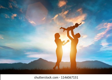 Happy family together outside at sunset, father lifting the baby up. Parenting. 3D illustration.