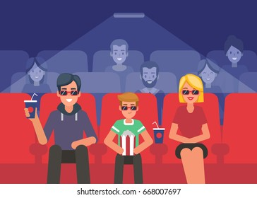 Happy family watching 3d movie in cinema.