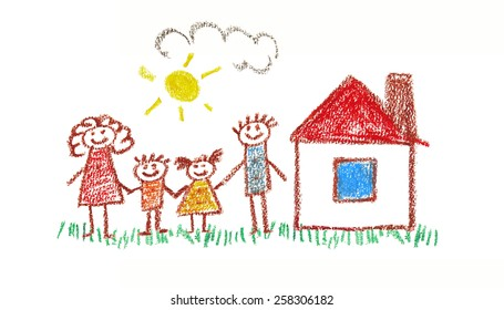 Happy family.Kids drawing