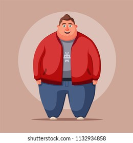 00ff727177cd2 Happy fat man. Obese character. Fatboy. Cartoon illustration. Concept of  weight.
