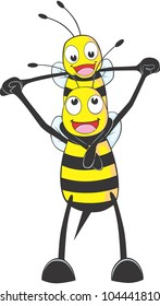 Happy Father and Son Bee Cartoon