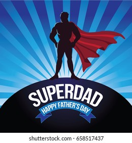 Happy Fathers Day design with super dad.