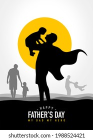 Happy Father's day. Father is like a big tree under whose shade we are all free. My dad my hero. Father and kids playing. White background silhouette people isolate view. Yellow Sunlight. Superhero.
