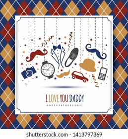 Happy fathers day illustration. Symbol of dad.