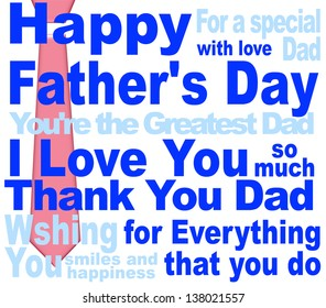 happy fathers day message card design on white background