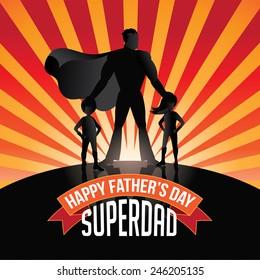 Happy Fathers Day Superdad burst royalty free stock illustration