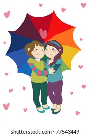 An happy female couple under an umbrella isolated on white background. Digital illustration