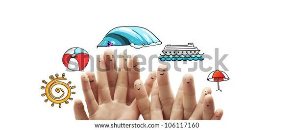 happy  finger dream summer travel, isolated