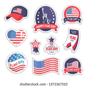 Happy flag day of us independence holiday in united states america set stickers and items with patches raster illustration isolated on white