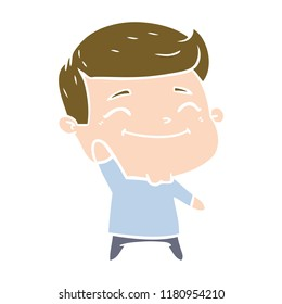 happy flat color style cartoon man waving