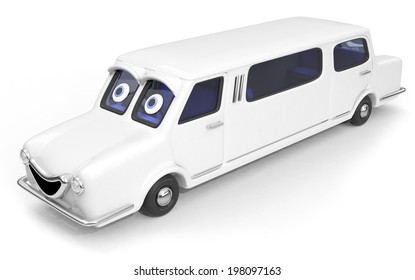 Happy, friendly stretched limousine car 3D illustration