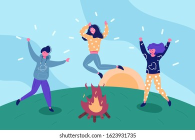 Happy friends having fun outdoors illustration. Boy and girls camping and jumping around fire flat style concept. Holiday concept. Sunrise on green hill background