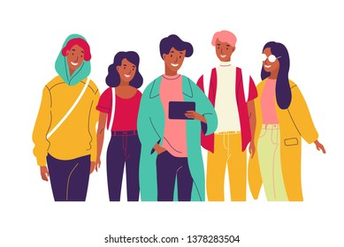 Happy friends watching video together. Group of young smiling men and women dressed in trendy clothes looking at tablet pc screen. Bright colored illustration in modern flat cartoon style.